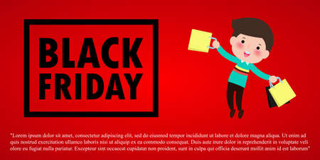 Black Friday Sale Event People Characters cartoon with Shopping Bag, Advertising Poster Banner Big Discount Promo Concept isolated on red background vector illustration Stock Illustratie