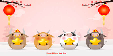 Happy Chinese new year 2021 greeting card. group of Little cow holding Chinese gold, year of the ox zodiac Cartoon isolated vector illustration, Translation: Greetings of the New Year. Stock Illustratie