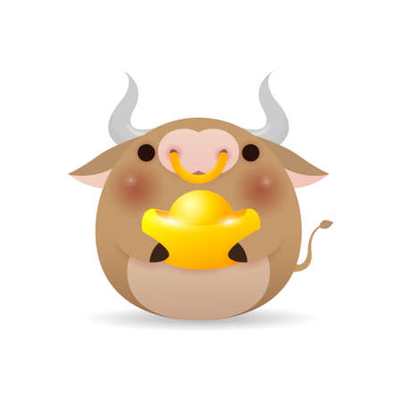 Happy Chinese new year 2021, cute Little cow holding Chinese gold, the year of the ox zodiac, Cartoon vector illustration isolated on white background.