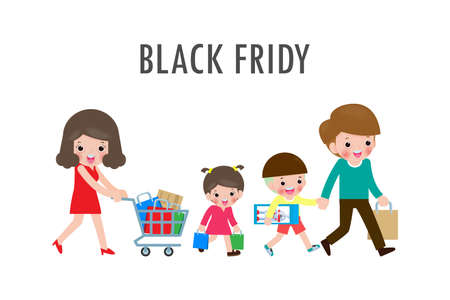 Black Friday Sale Event, Happy family shopping, parents and children with purchases on cart, Big sale. Purchasing of goods and gifts. Shopping concept isolated on white Vector illustration Stock Illustratie