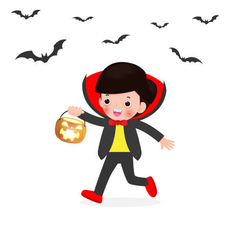 Happy Halloween. Cute Little Dracula Vampire holding pumpkin and flying bats, children in Halloween costume isolated on white background. Kid Costume Party Vector illustration.
