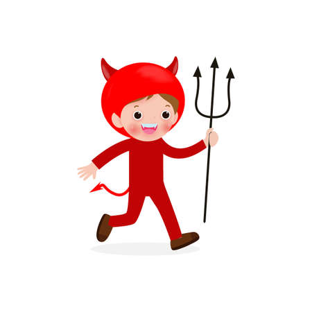 Happy Halloween. Cute little Red Devil Demon, children in Halloween costume isolated on white background. Kid Costume Party Vector illustration.