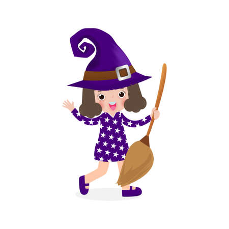 Happy Halloween. Cute little witch. Girl kid in Halloween costume isolated on white background. Kid Costume Party Vector illustration. Stock Illustratie