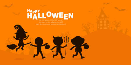 Happy halloween party poster, Cute Little group kids silhouette dressed in Halloween fancy dress to go Trick or Treating, banner background, Template for advertising brochure Vector Illustration