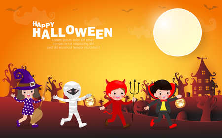 Happy halloween party poster, Cute Little group kids dressed in Halloween fancy dress to go Trick or Treating, paper art banner background, Template for advertising poster brochure Vector Illustration