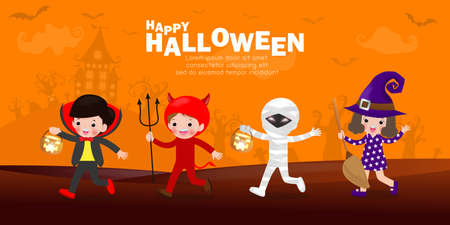 Happy halloween party poster, Cute Little group kids dressed in Halloween fancy dress to go Trick or Treating, banner background, Template for advertising poster brochure isolated Vector Illustration