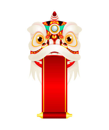 happy Chinese New Year Lion Dance Head with blank scroll, Mascot for lucks Holding red sign decorated with gold, banner template poster Cartoon vector illustration isolated on white background. Stock Illustratie