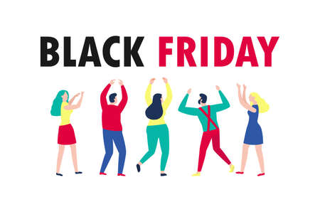 Black Friday shopping concept group People Characters cartoon Advertising Poster Banner Big Discount Promo Sale Event isolated on white background vector illustration Stock Illustratie