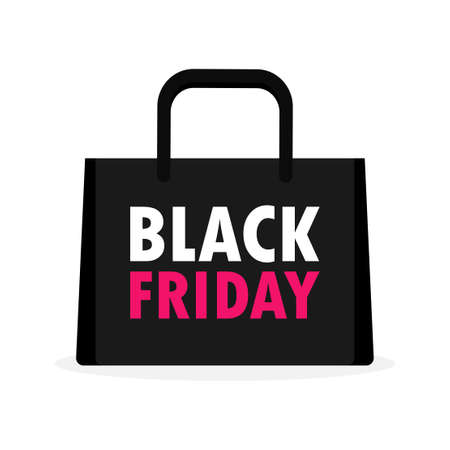 Black Friday shopping concept. Black paper bag icon banner template isolated on white background Vector illustration