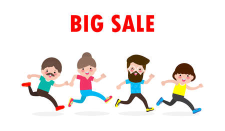 Black Friday shopping concept, Big Sale with Discount crowd of people running to the store on sale, Advertising Poster Banner Big Discount Promo Sale Event isolated on white background Stock Illustratie