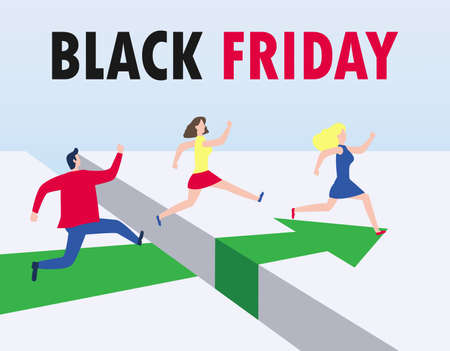Black Friday shopping concept group of People running and jumping over gap with purchases to the store on sale, Advertising Poster Banner Big Discount Promo Sale Event isolated on white background Stock Illustratie