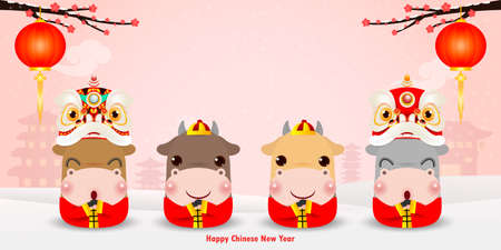 Happy Chinese new year 2021, the year of the ox greeting card design and four little cute cows Cartoon vector illustration background, banner, calendar, Translation: Happy Chinese new yearc Vecteurs