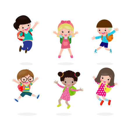 Back to school concept, happy kids jumping at school, group of children and friends go to school isolated on white background Vector Illustration