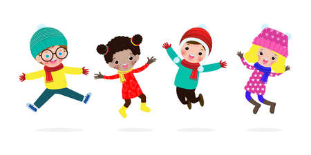 Merry Christmas and Happy new year, collection of kids jumping in winter costume, Xmas holiday party concept isolated on white background vector illustration Ilustração