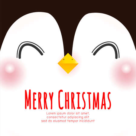 Merry Christmas and Happy new year poster, cute of happy penguin face banner, Xmas holiday party concept vector illustration