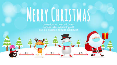 Merry Christmas for new normal lifestyle concept and social distancing, Christmas cartoon character. Santa Claus, snowman, penguin and reindeer with surgical mask protect coronavirus covid-19 vector