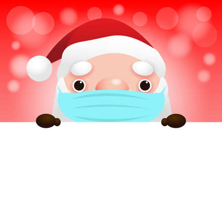 merry christmas and happy new year, Santa Claus wearing a face mask banner concept holiday season symbol for health and healthcare disease prevention coronavirus or covid 19 vector illustration Ilustrace