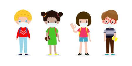 Back to school for new normal, preschoolers children teenagers wearing sanitary masks