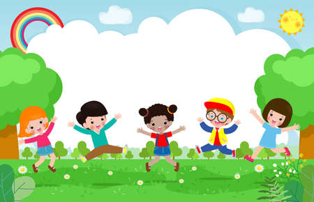 Cute kids Playing At Abstract Nature, Happy Children jumping and dancing on the park or playground Template for advertising brochure,your text, flat Funny cartoon character,design Vector Illustration Çizim