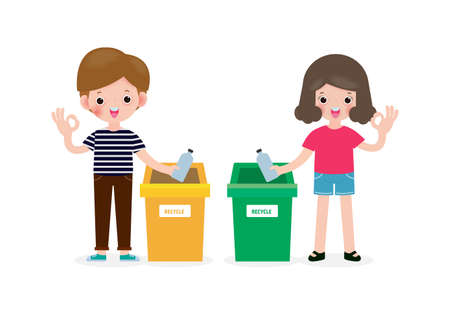 Children rubbish for recycling, Kids Segregating Trash, recycling trash, Save the World, male and female recycle, child and recycling isolated on white background vector Illustration flat style Vektorové ilustrace