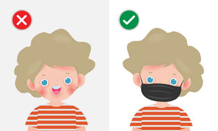 Kids mark protective No Entry Without Face Mask or Wear a Mask Icon, yes no sign with children wearing or not wearing a mask is correct and incorrect, isolated on white background vector illustration