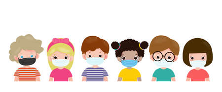 Set of kids wearing a surgical protective Medical mask for prevent virus. New normal lifestyle concept, Social Distancing, Healthcare isolated on white background vector illustration.