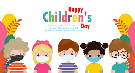 happy children day for new normal lifestyle concept. Template for advertising brochure or poster flyer, group cute kids wearing a surgical protective Medical mask for prevent virus.