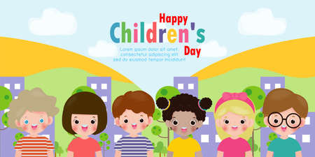 Set group collection of cute babies kids characters playing doing activities in different various poses. Happy children in city isolated on background Vector Illustration. Çizim