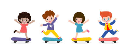 group of Kids Riding on Skateboards. Happy teenage boys and girls playing skateboarders. Young hipster skateboarder. Flat style character cartoon vector illustration isolated on white background.