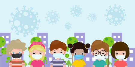 Set of kids wearing a surgical protective Medical mask for prevent virus in city. new normal lifestyle concept, Social Distancing, Healthcare isolated on background vector.