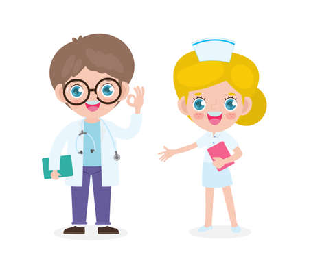 set of happy cute caucasian Doctor and Nurse, International doctor team. Hospital medical staff flat style isolate on white background vector illustration.