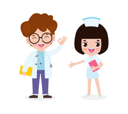 set of happy cute asian Doctor and Nurse, International doctor team. Hospital medical staff flat style isolate on white background vector illustration.