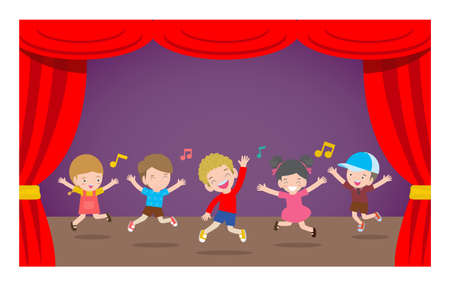 Happy children dancing and jumping at stage Vector illustration cartoon isolated on background