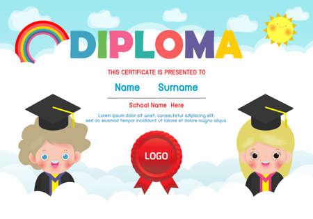 Diploma template for kids, Certificates kindergarten and elementary,  Preschool children Diploma certificate background design, Diploma template for child student isolated vector illustration