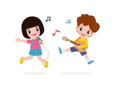 cute little asian boy and girl playing guitar and singing, happy kids couple Making Music Performance character cartoon flat style isolated on white background vector illustration