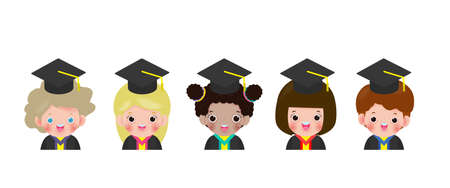 set of Graduation kids, happy children graduates, Graduates in gowns and with diploma, students graduation isolated on white background vector illustration
