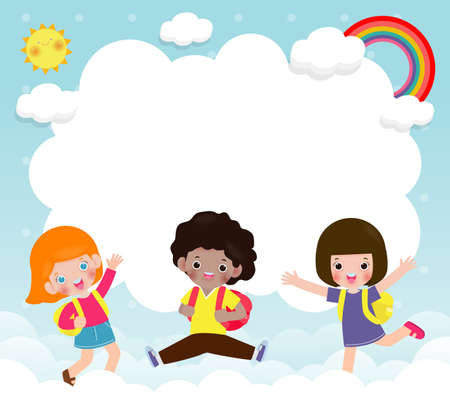 Happy children jumping on the cloud and rainbow background poster with happy kids jump greeting card isolated vector illustration