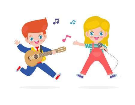 cute little caucasian boy and girl playing guitar and singing, happy kids couple Making Music Performance character cartoon flat style isolated on white background vector illustration