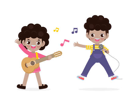cute little black boy and girl playing guitar and singing, happy kids couple Making Music Performance character cartoon flat style isolated on white background vector illustration