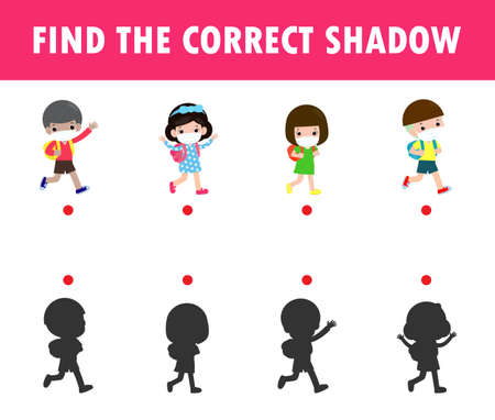 Shadow Matching Game for kids, Visual game for kid, find the correct Shadow, Instructional media, Connect the dots picture, Education isolated on background Vector Illustration. Çizim