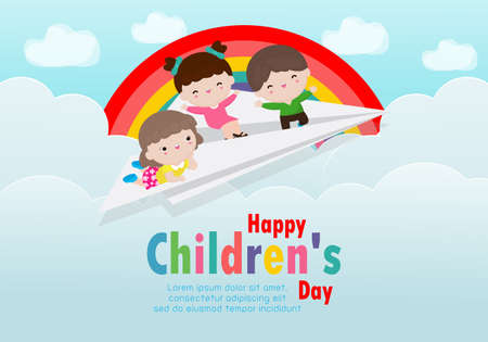 Happy children's day background poster with happy three kids flying on a paper airplane in the cloudy sky and rainbow greeting card isolated vector illustration Çizim