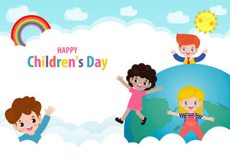 Happy children's day background poster with happy kids on World in the cloudy sky and rainbow greeting card isolated vector illustration
