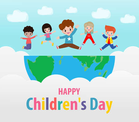 Happy children's day background poster with happy kids jumping on World in the cloudy sky and rainbow greeting card isolated vector illustration