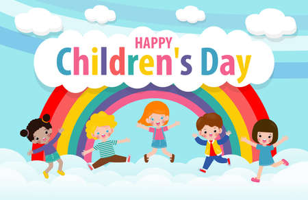 Happy children's day background poster with group cute kids jumping on the cloudy sky and rainbow greeting card isolated vector illustration