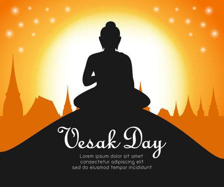 Happy vesak day with Buddha sitting under bodhi tree on full moon night, buddha purnima in Visakha Puja day, Buddhist holiday concept banner background vector design vector illustration. Çizim
