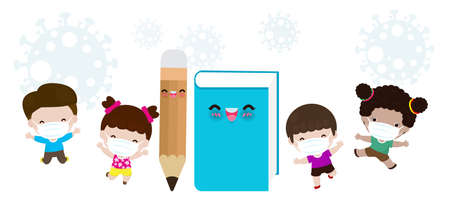 Back to school for new normal lifestyle concept. book and pencil mascot and happy cute kids wearing face mask protect Coronavirus 2019-nCoV or covid-19, group of children and friends going to school Çizim