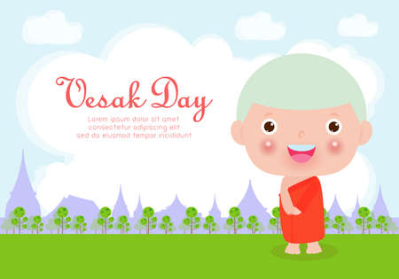 Happy vesak day with cute monk in Visakha Puja day, Buddhist holiday concept banner background vector design vector illustration. Çizim