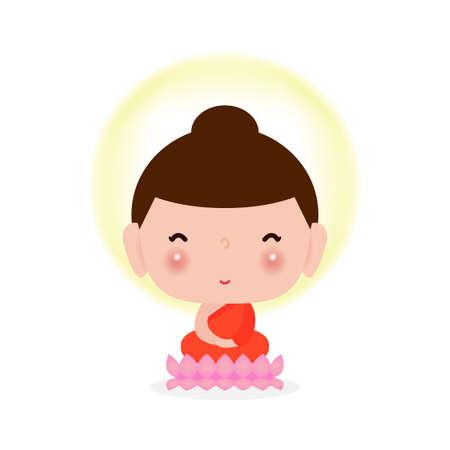 Happy cute Buddha sitting on lotus, buddha purnima, Buddhist concept banner isolated on white background vector design vector illustration.