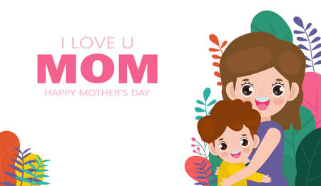 Happy Mother's day greeting card. Beautiful mother hugging son on flowers background, i love mom with holiday isolated Vector illustration modern flat style