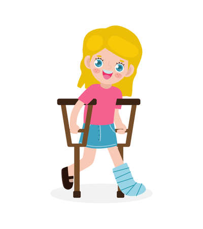 Caucasian kid injured with broken leg in gypsum. little children standing on crutches, cartoon teen disabled character broken leg in plaster. isolated on white background Vector illustration